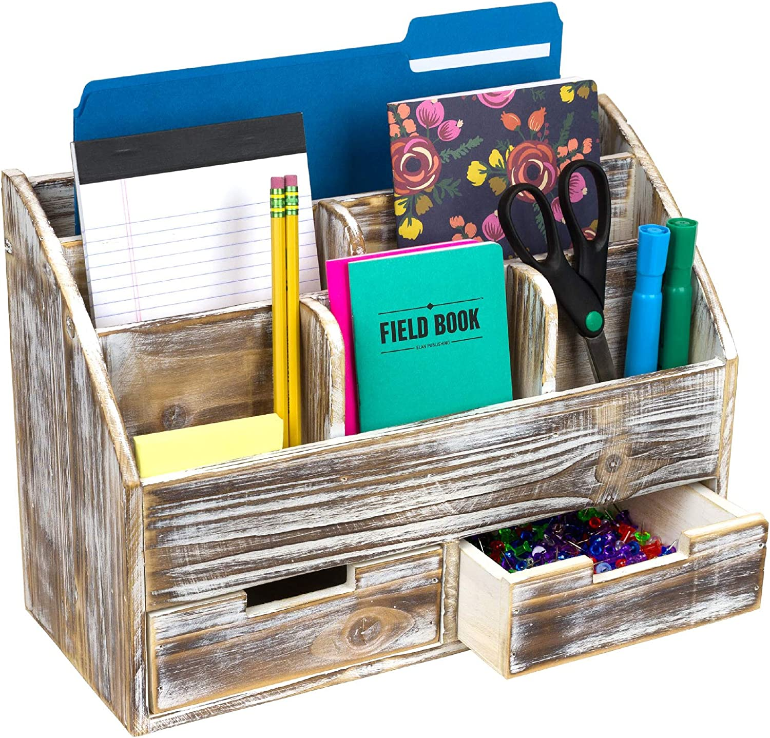 Rustic Wood Office Desk Organizer: Includes 6 Compartments and 2 Drawers to Organize Desk Accessories, Mail, Pens, Notebooks, Folders, Pencils and Office Supplies (Brown)