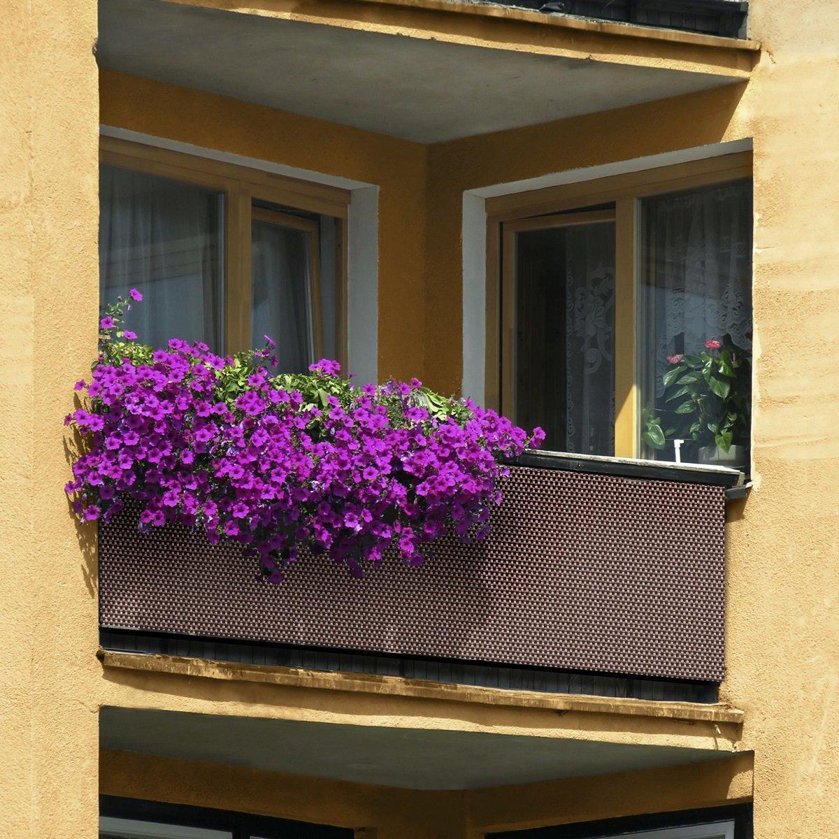 Haga/® PE rotin Terrasses Brise-vue pour balcon Marron fonc/é largeur 0,9/m au m/ètre