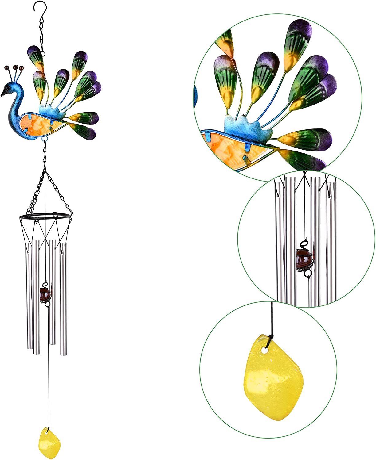 VAINECHAY Outdoor Garden Wind Chime Indoor Home Hanging Wind Chimes Yard Metal Decoration Peacock Chimes Gift for Mom Wife Grandma