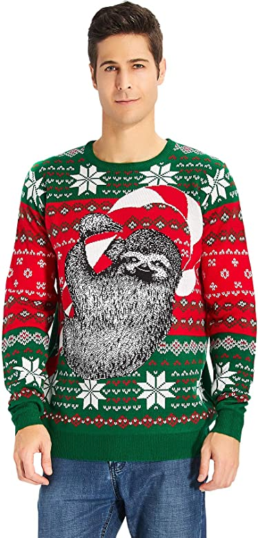 Unisex Adults Novelty Naked Santa Pullover Christmas Knitted Jumper Sweater Top