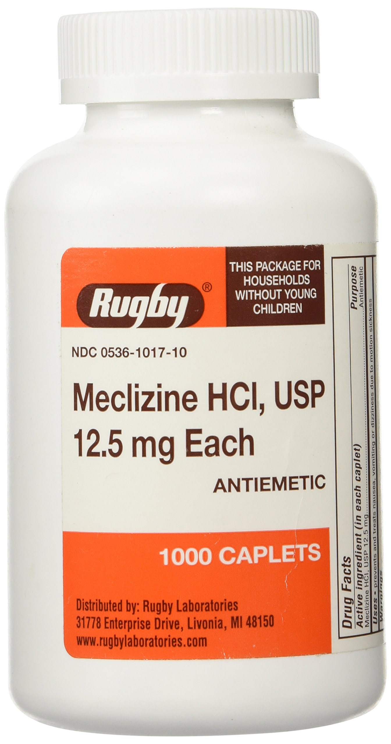 MECLIZINE TABS 12.5 MG OTC*RUG Size: 1000 by RUGBY LABORATORIES