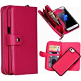 "iPhone 6/6S Wallet Case, Hynice iPhone 6/6S Wallet Purse Case Leather Zipper Case with credit card slots and Magnetic Detachable Slim Cover for iPhone 6/6S 4.7"" (Litchi-rose)"