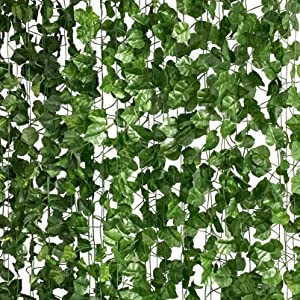 LA.PONEE 12 Strands Artificial Ivy Leaf Plants Vine Hanging Garland Fake Foliage Flowers Home Kitchen Garden Office Wedding Wall Decor (Green-91Feet)
