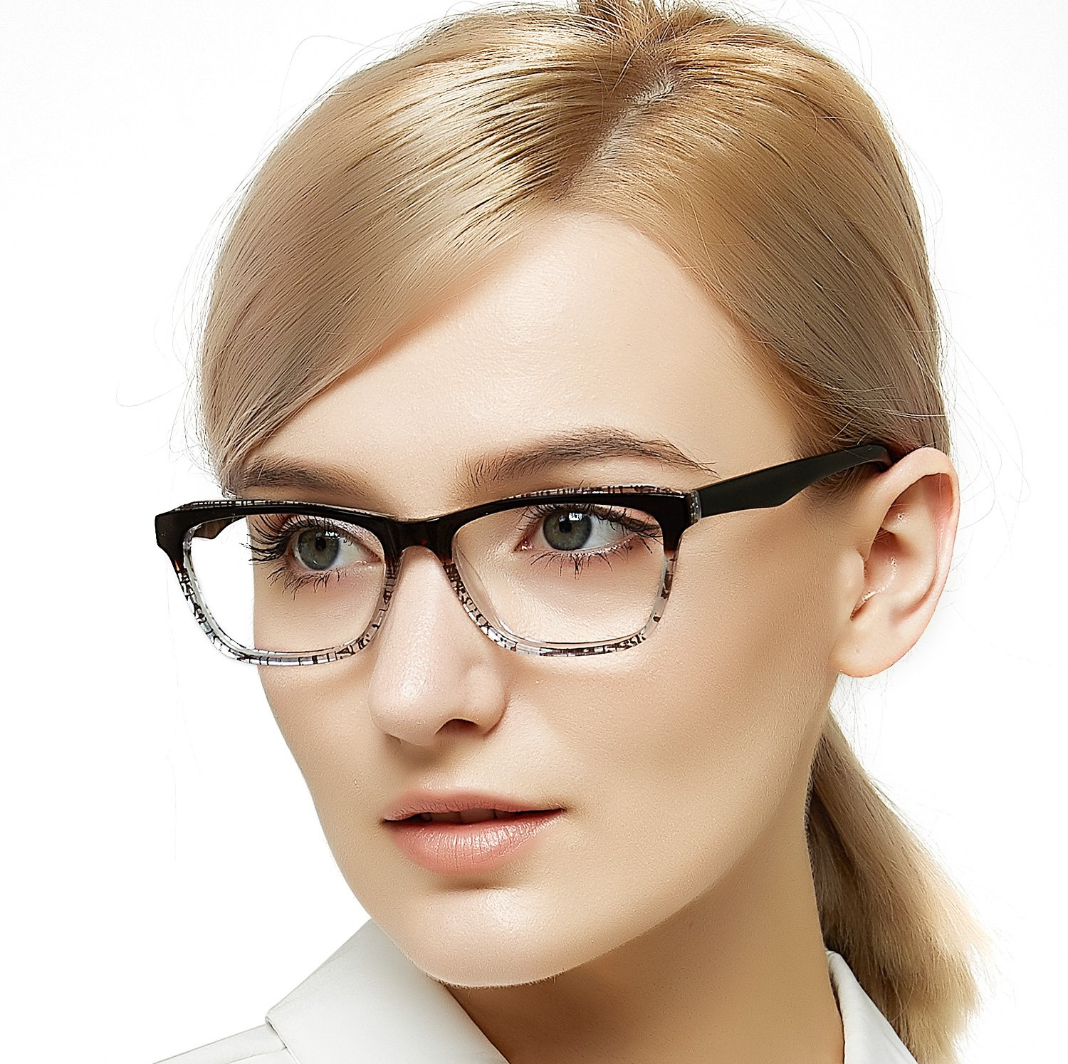 OCCI CHIARI Womens Rectangle Double Color Fashion Eyewear Frame Clear Lens Glasses(Brown, 53-15-140)