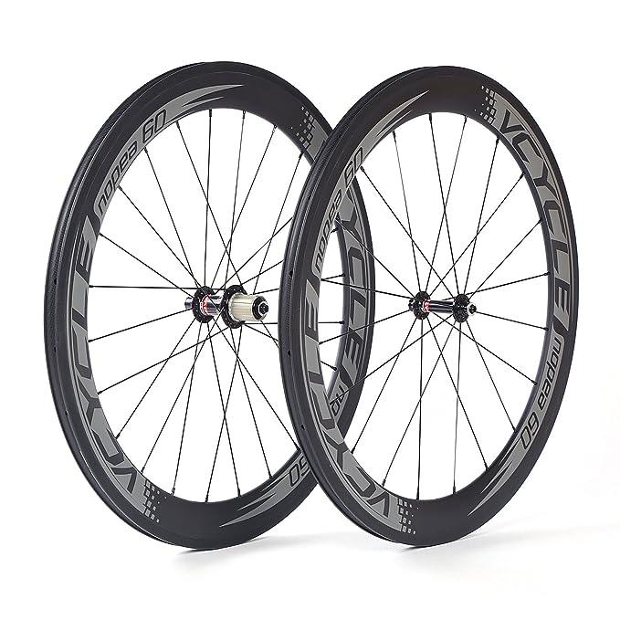 VCYCLE Nopea 700C Fibra De Carbono Carreras Bicicleta De Carretera Ruedas Tubular 60mm Ultra Ligero Shimano 8/9/10/11 Velocidad o Campagnolo 10/11 ...