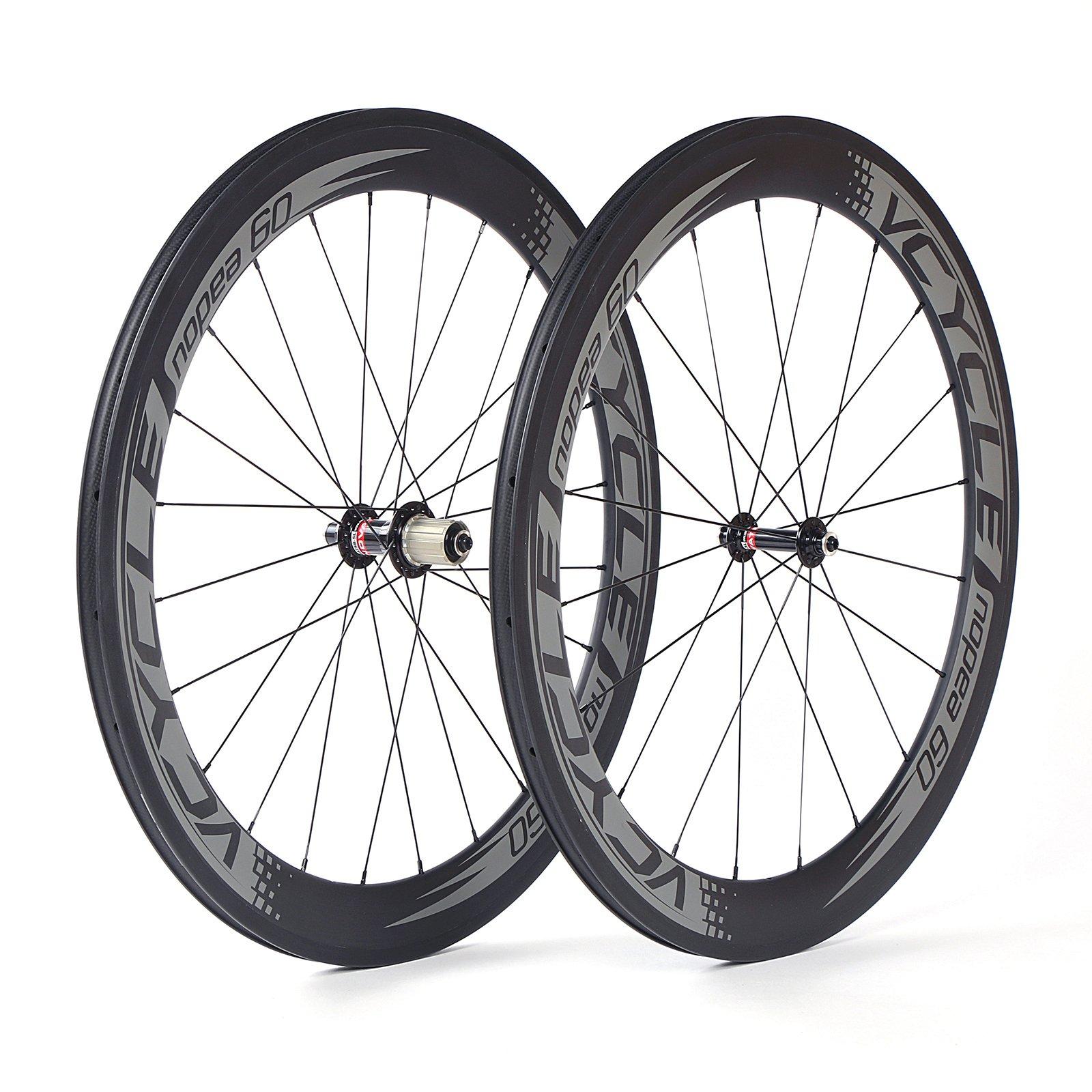 VCYCLE Nopea 700C Carbono Carretera Bicicleta Rueda Remachador 60mm S?o 1595g Para Shimano o