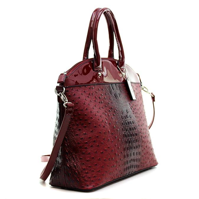 99a62e90f36e Amazon.com  Dasein Ostrich Large Classic Elegantly structured Satchel Tote  Shoulder Bag Handbag with Removable Shoulder Strap - Burgundy  Shoes