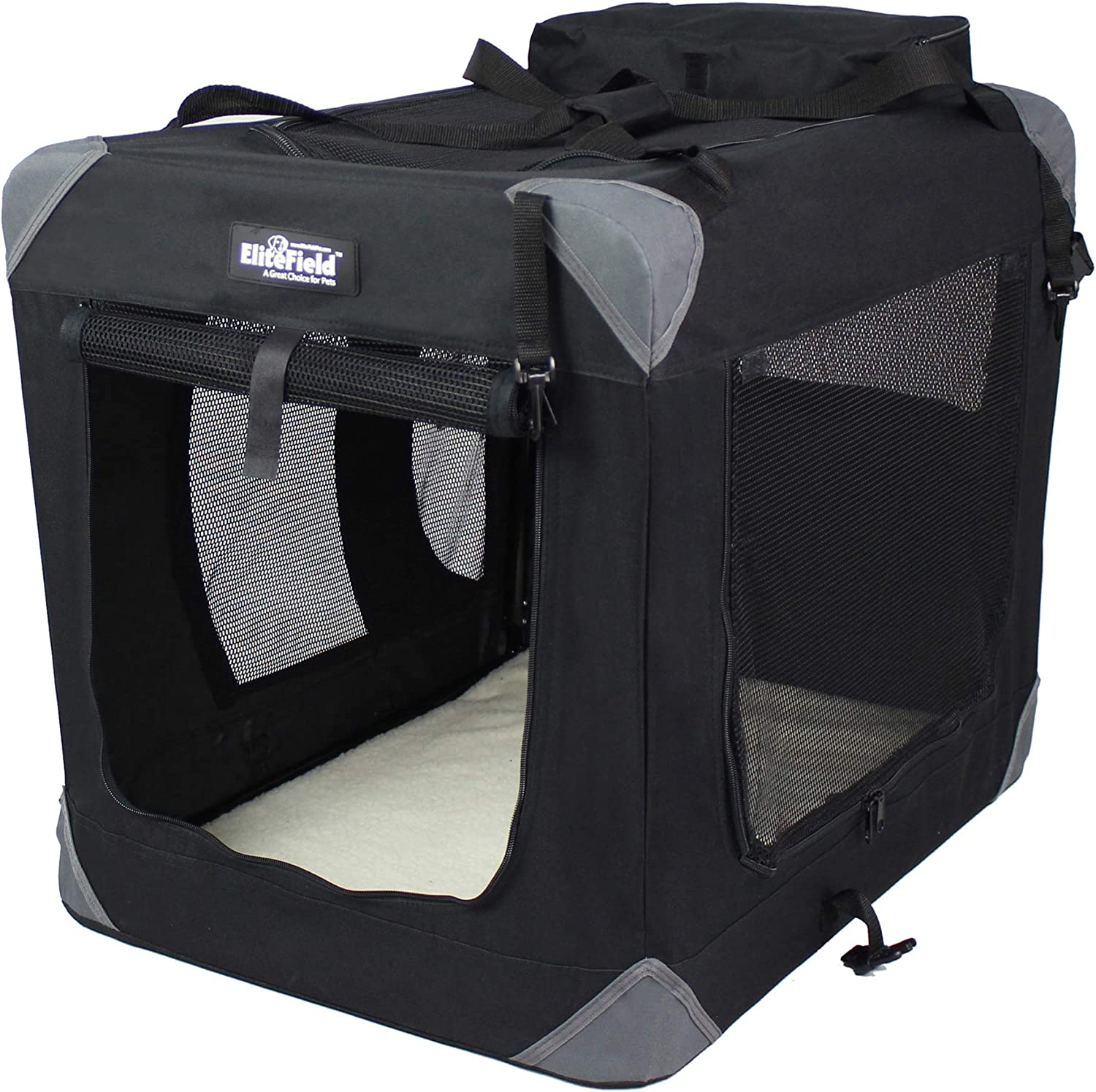 """EliteField 3-Door Folding Soft Dog Crate, Indoor & Outdoor Pet Home, Multiple Sizes and Colors Available (42"""" L x 28"""" W x 32"""" H, Black)"""