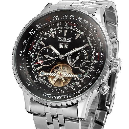 forsining automático para hombre Tourbillon completo calendario reloj de muñeca jag034 m4s2: Amazon.es: Relojes