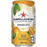 Sanpellegrino Sparkling Soda Fruit Beverages, Aranciata/Orange, 330ml Can, 24 Cans Total