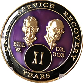 AA Bill/&Bob Blue 13 Year Coin Tri-Plate Alcoholics Anonymous Medallion Display