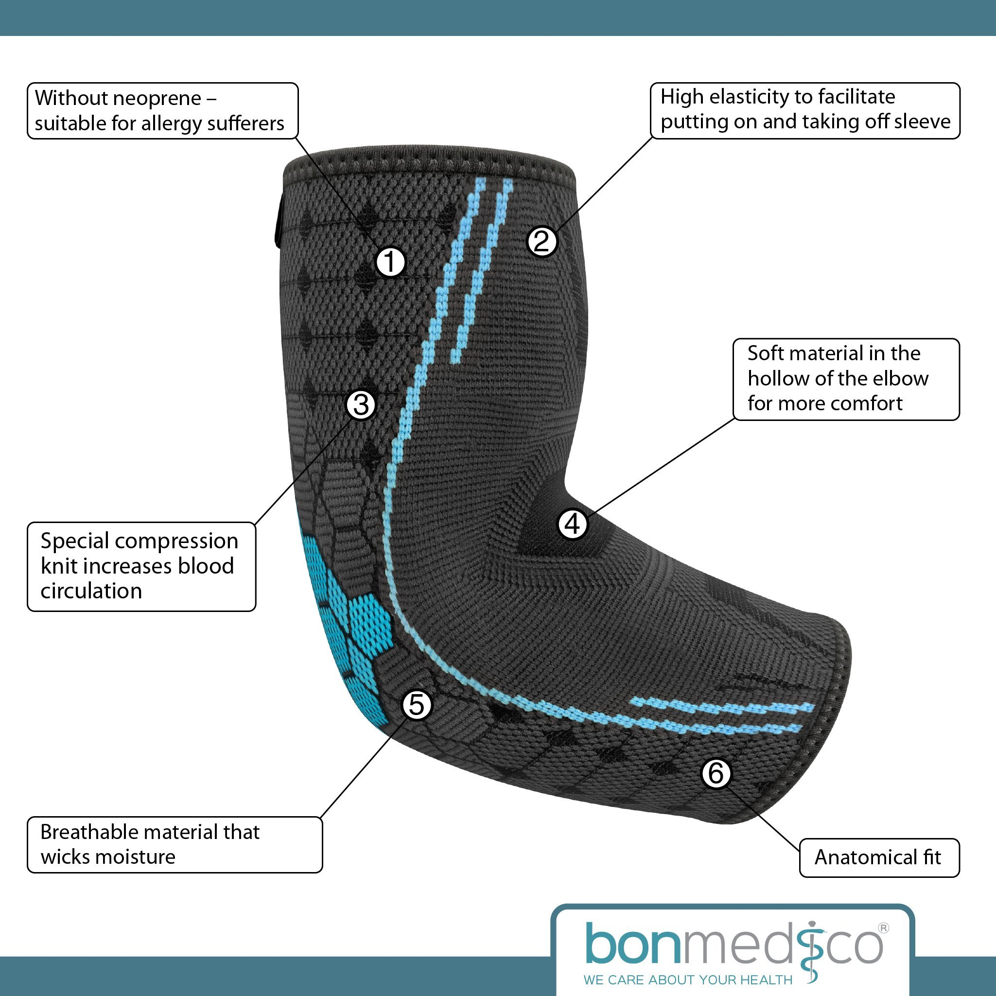 Bonmedico Farko (New!), Elbow Brace, Elbow Compression Brace to Promote Circulation, Elbow Brace for Tennis Elbow, Elbow Brace for Tendinitis, for Men and Women (XL) (Left/Right)