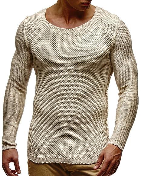 96b38d19a6554 LEIF NELSON pour des Hommes Pullover Pull en Tricot Hoodie Basic col Rond  Crew Neck Sweatshirt Manche Longue Sweater Feinstrick LN20711  Amazon.fr   ...