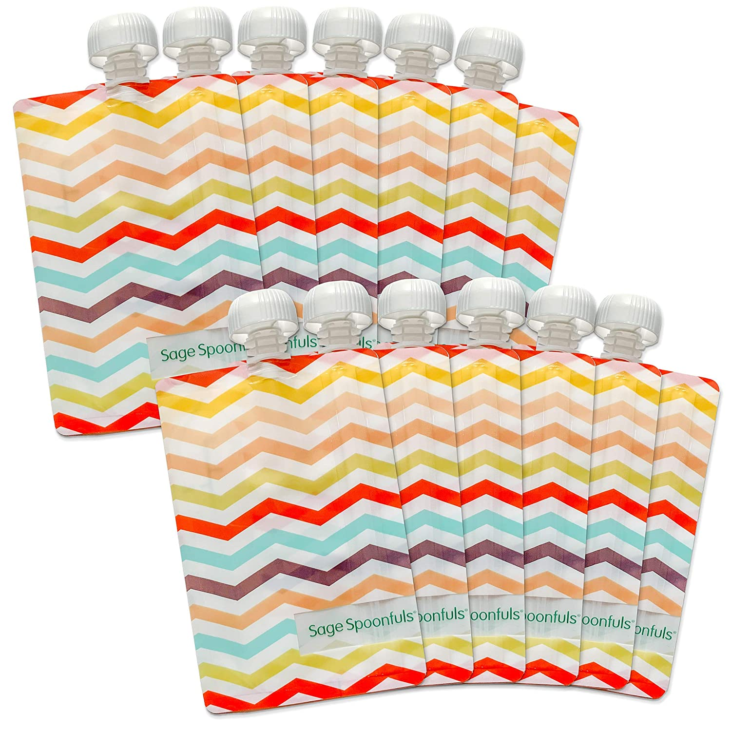 Sage Spoonfuls Squeezie Reusable Baby Food Pouches - 12-Pack of 7-Ounce Leakproof, Easy-to-Fill Pouches - Chevron - Dishwasher Safe, BPA and Lead-Free