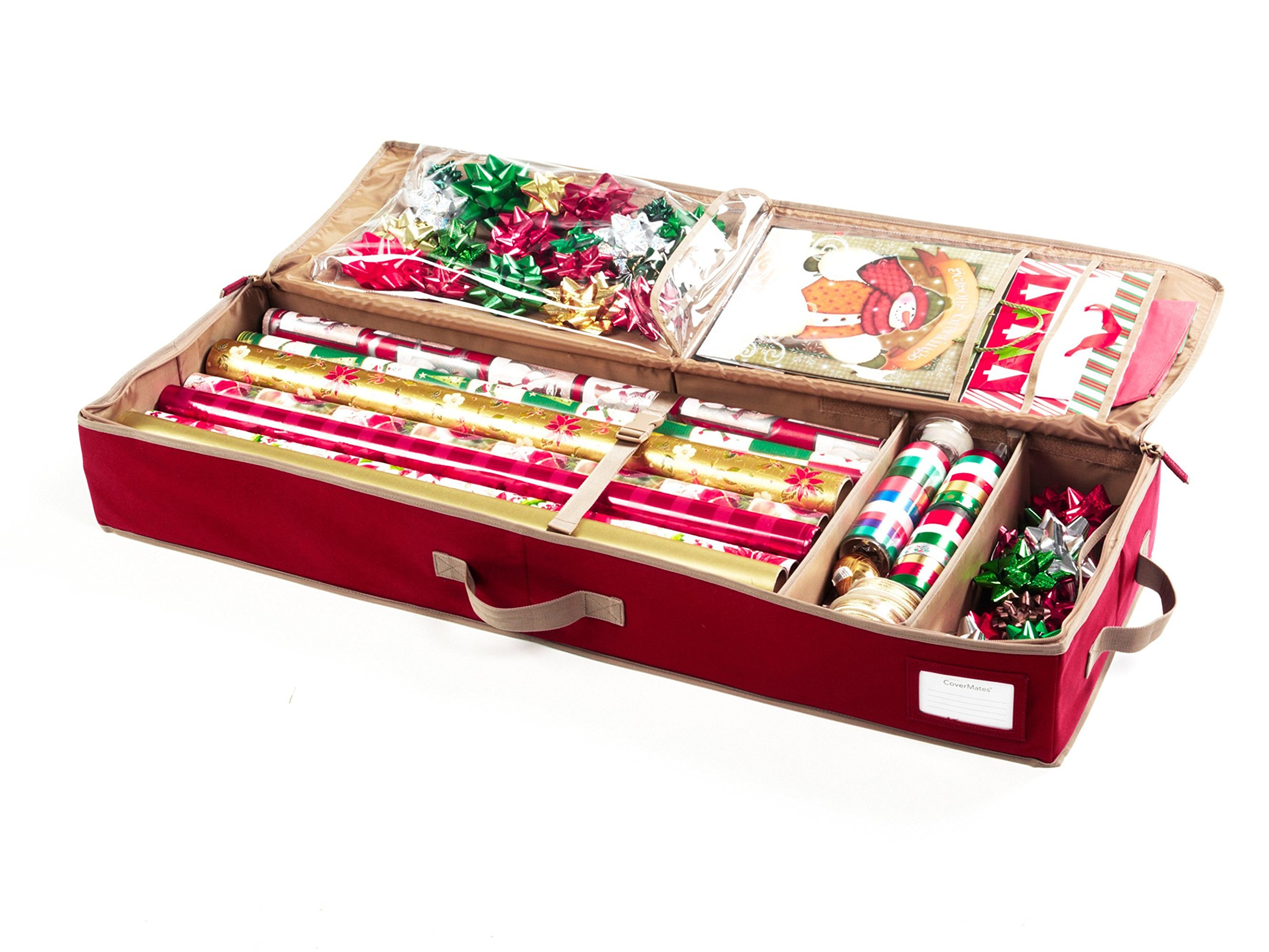 CoverMates – Premium Deluxe Gift Wrap Organizer – Holds up to 15 Rolls + Accessories – 3 Year Warranty- Red
