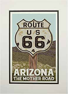 product image for Arizona - Route 66 - Letterpress (11x14 Double-Matted Art Print, Wall Decor Ready to Frame)