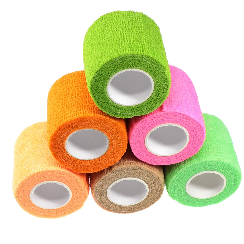 Waykino tubolare bendaggio coesivo 5cm x 4.5m bendaggio elastico autoadesivi, PET Vet Wrap Bandaging tape colori assortiti, confezione da 6