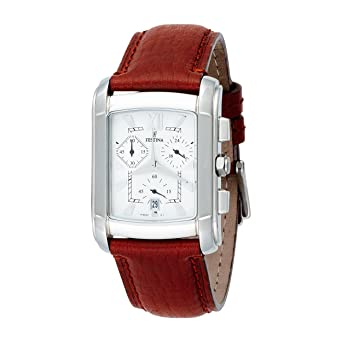 Festina Mens Quartz Stainless Steel and Leather Casual Watch, Color:Brown (Model: