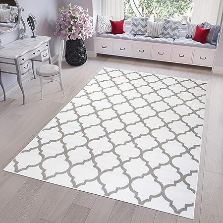 Tapiso Fire Tapis de Salon Chambre Design Moderne Blanc Gris Marocain  Optique Géométrique Treillis Fin 140 x 200 cm