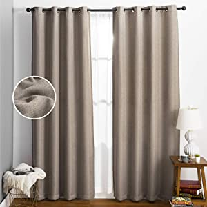 Bedsure Linen Textured Curtains, Beige Curtains for Living Room, Room Darkening Curtains for Bedroom 96 Inch Length 2 Panels(52 X 96inch,Beige)