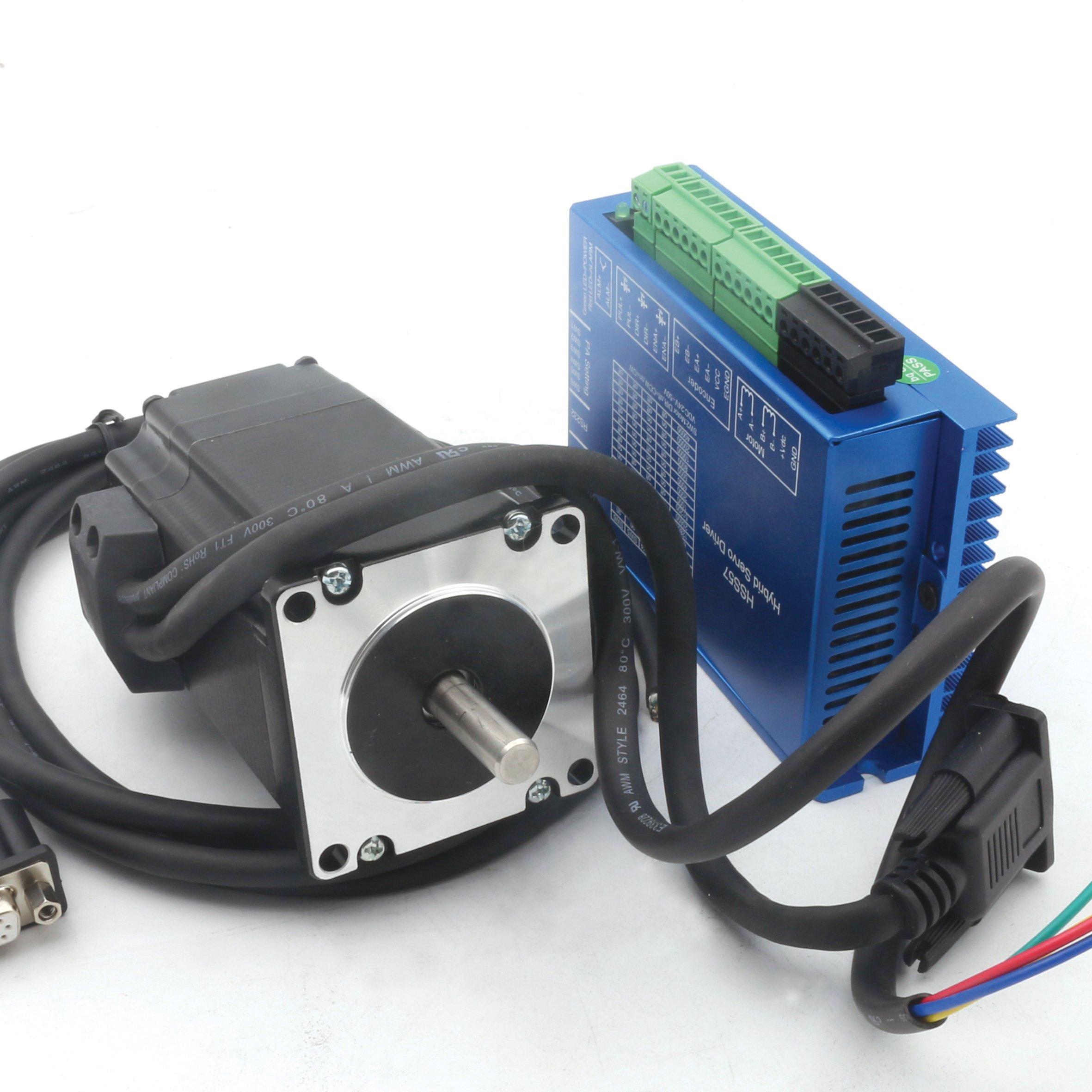 Nema23 2N.m 57 Hybrid Closed Loop Servo Motor 76mm+HSS57 Servo Driver Controller CNC Kit 24-50VDC For CNC Router Engraving Milling Machine