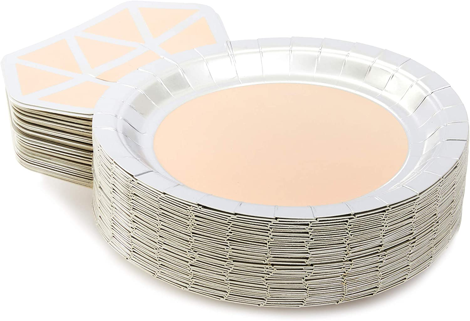 Diamond Ring Party Plates for Bridal Showers and Engagements 48 Pack