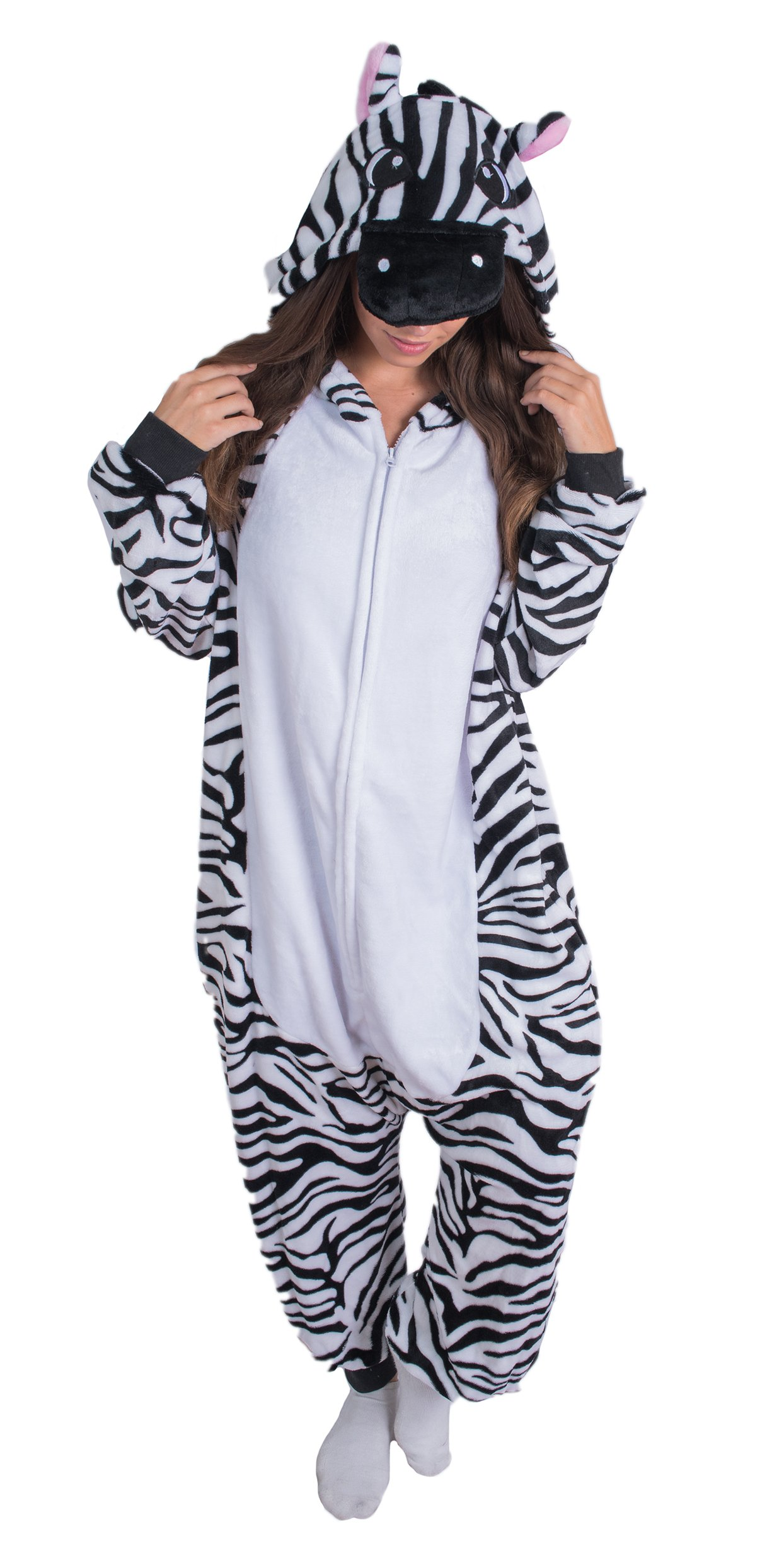 Adult Onesie Zebra Animal Pajamas Comfortable Costume With Zipper and Pockets (X-Large)