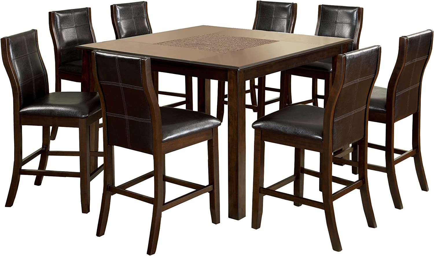 Furniture of America Baine Dining Table Set, Brown Cherry