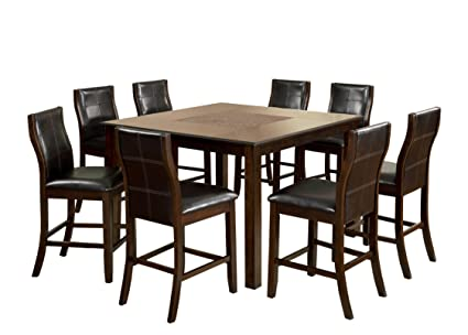 Charmant Furniture Of America Baine Modern 9 Piece Counter Height Table Set With  Mosaic Insert Top