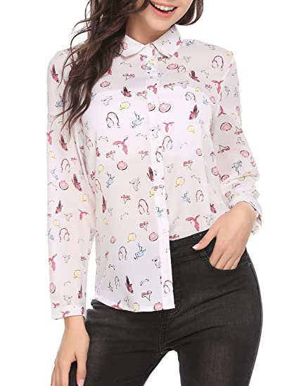 2bfb8b06ea5 Image Unavailable. Image not available for. Color  Pinspark Women s Fashion  Collar Long Sleeve Print Casual Button Down Blouse Shirt ...