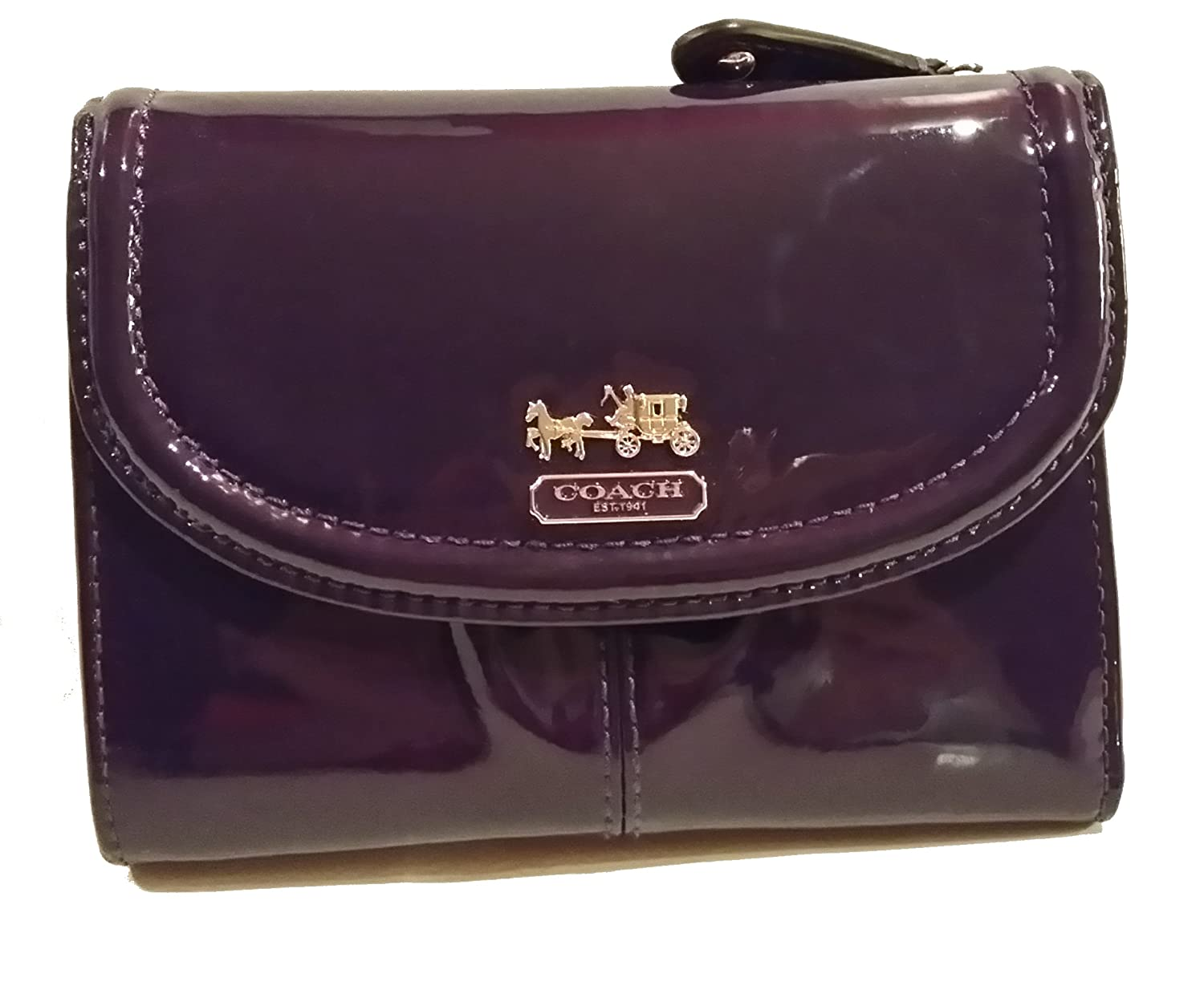 473640ae85a43 Coach Madison Patent Leather 46729 Medium Wallet Plum Handbags Amazon.com Coach  Madison Mini ...