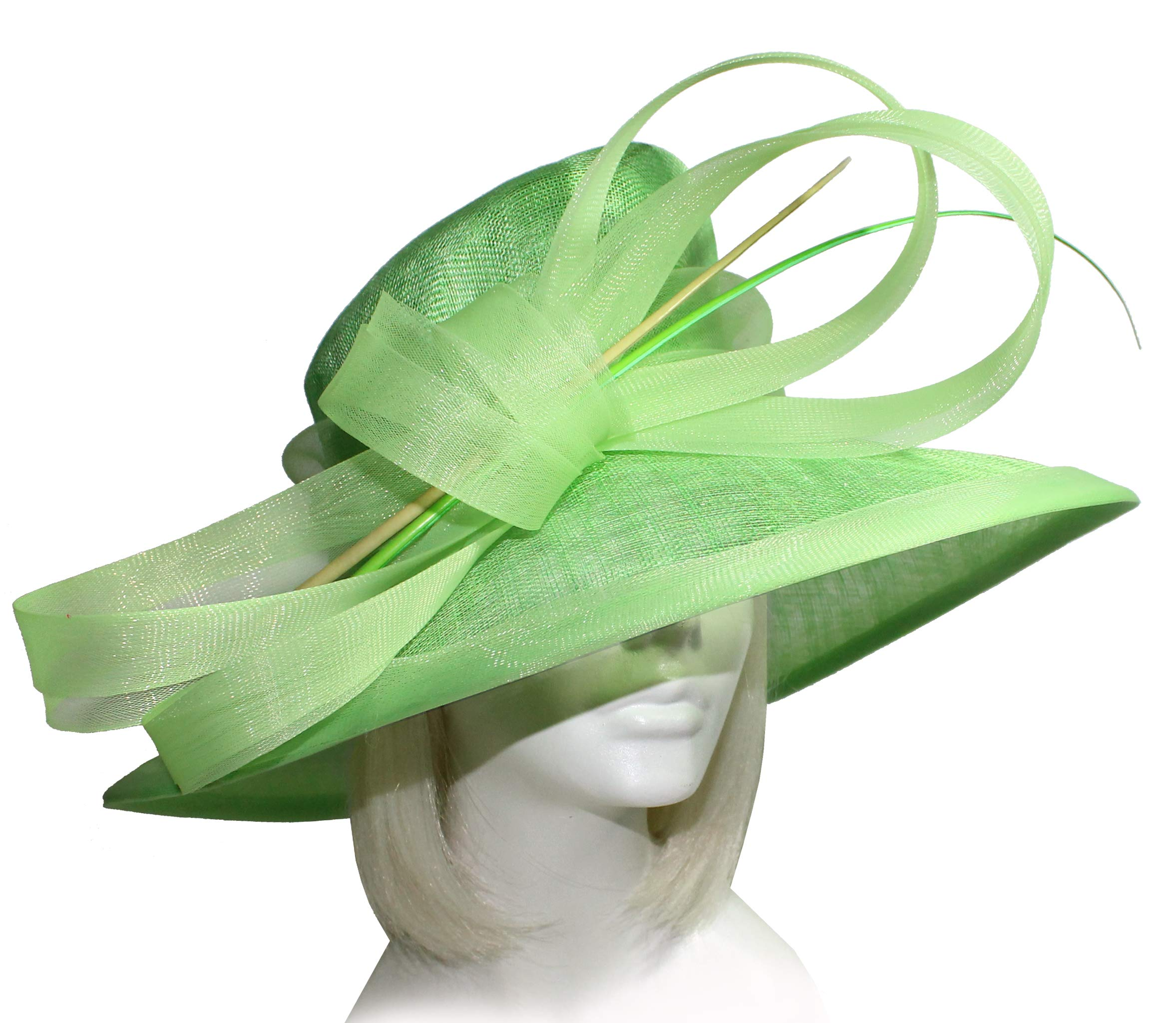 Mr. Song Millinery Derby/Ascot Wide Brim Sinamay Hat DH276 Lime Green