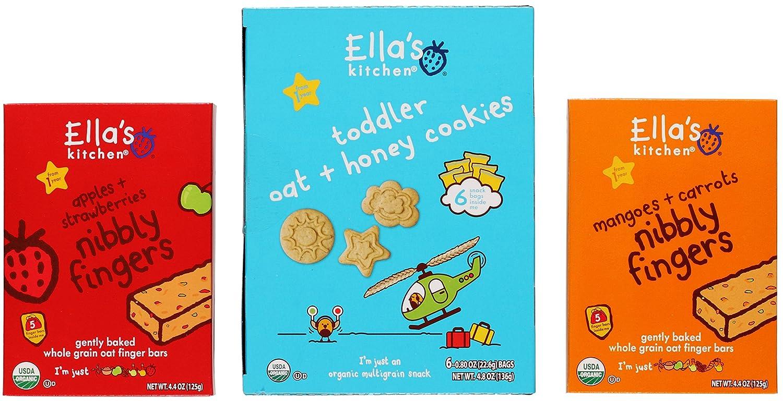 Ella\'s Kitchen Organic Snack Bundle: (1) Toddler Oat & Honey Cookies ...