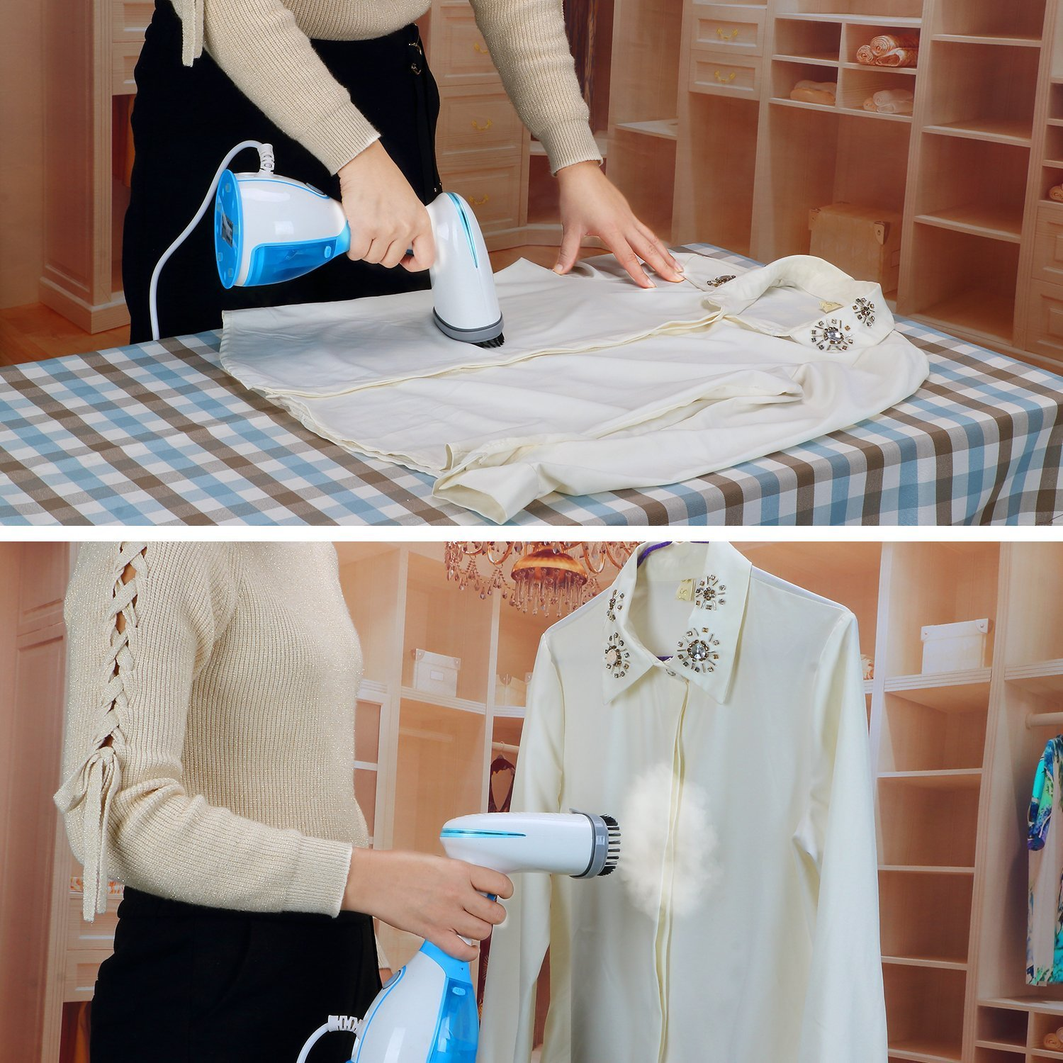 Wishesport Garment Steamer Handheld Fabric Steamer, 15 Seconds Fast Steaming 280ml Removable Water Tank Vertical And Horizontal Steam Dual-Use Clothes Steamer For Home,Travel,Vacation