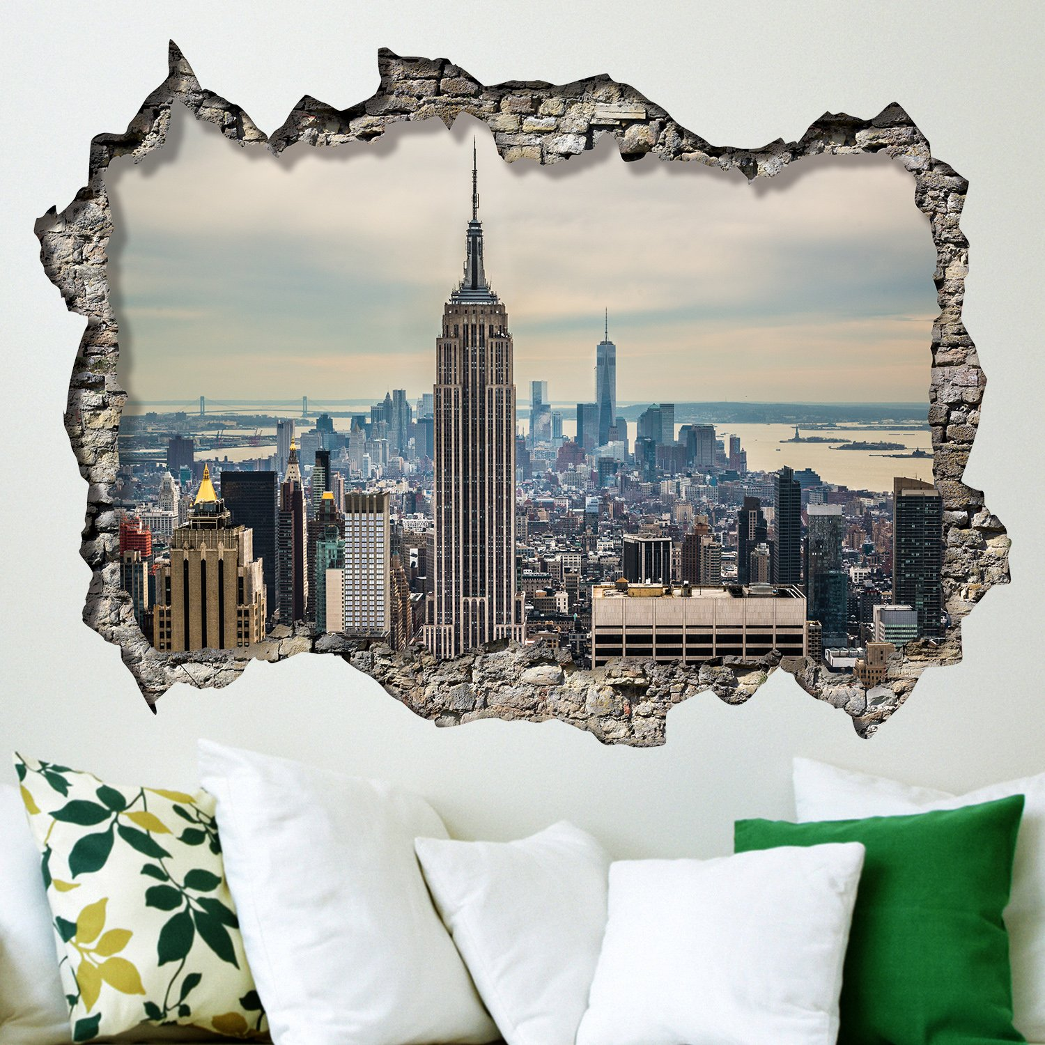 Walplus Wall Stickers New York Sunrise Mural Art Decals Vinyl Home  Decoration DIY Living Bedroom Office Décor Wallpaper Kids Room Gift,  Multi Colour: ... Part 43