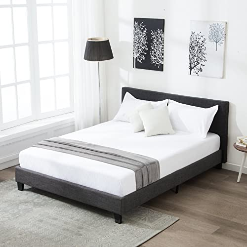 mecor Upholstered Linen Queen Platform Bed Metal Frame