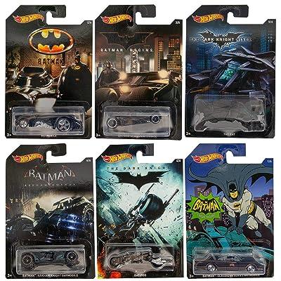 Hot Wheels Batman Complete Set of 6 Diecast Cars - Batmobiles, Bat-pod etc.: Toys & Games