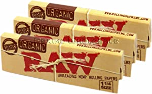 Raw Unrefined Organic 1.25 1 1/4 Size Cigarette Rolling Papers, 50 Count (Pack of 3)