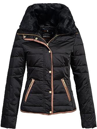 new style 76968 7b383 Sublevel Winterjacke | Wintermantel | Stepp-Jacke für Damen Modell 44204B  eleganter Daunen Kurz-Mantel im schlanken Parka-Stil mit Fellkragen aus ...