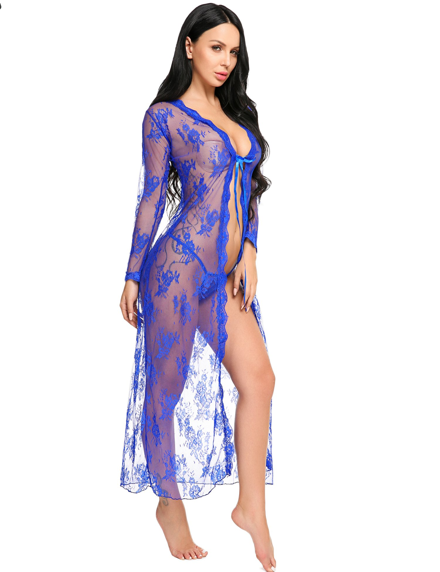 Summer Sexy Bath Robe Long Lace Night Gown Lady Lingerie Nightdress Retro Nightwear Dress,1_blue Lingerie Robe,X-Large