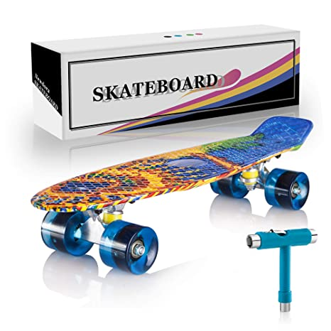 d3a0bb15c6a Newdora 22 quot  Complete Skateboard Cruiser with Colorful LED Light Up  Wheels for Kids