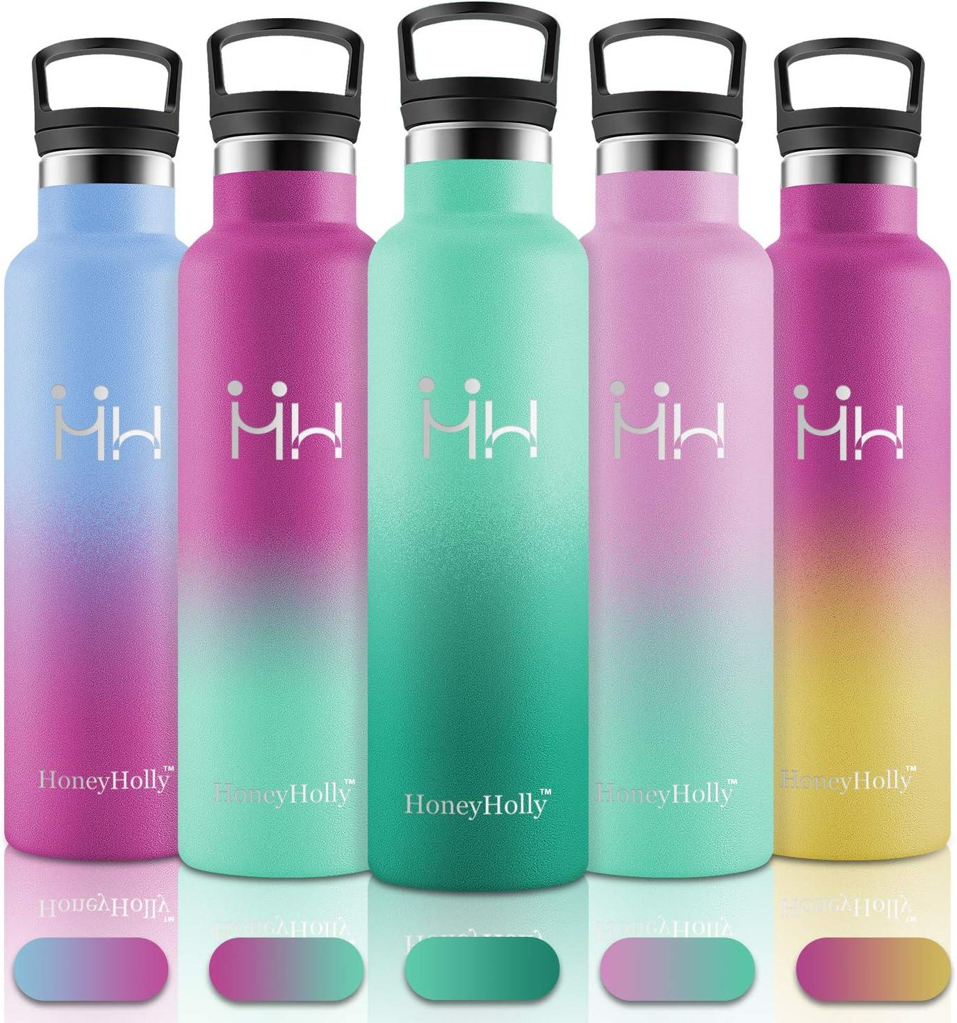 HoneyHolly Botellas Agua Acero Inoxidable, 600ml Reutilizable sin BPA Termos, Personalizada Cantimploras Botella para Niños, Bebé, Deportiva, Gimnasio, Bicicleta, Tazas Cafe Térmicas
