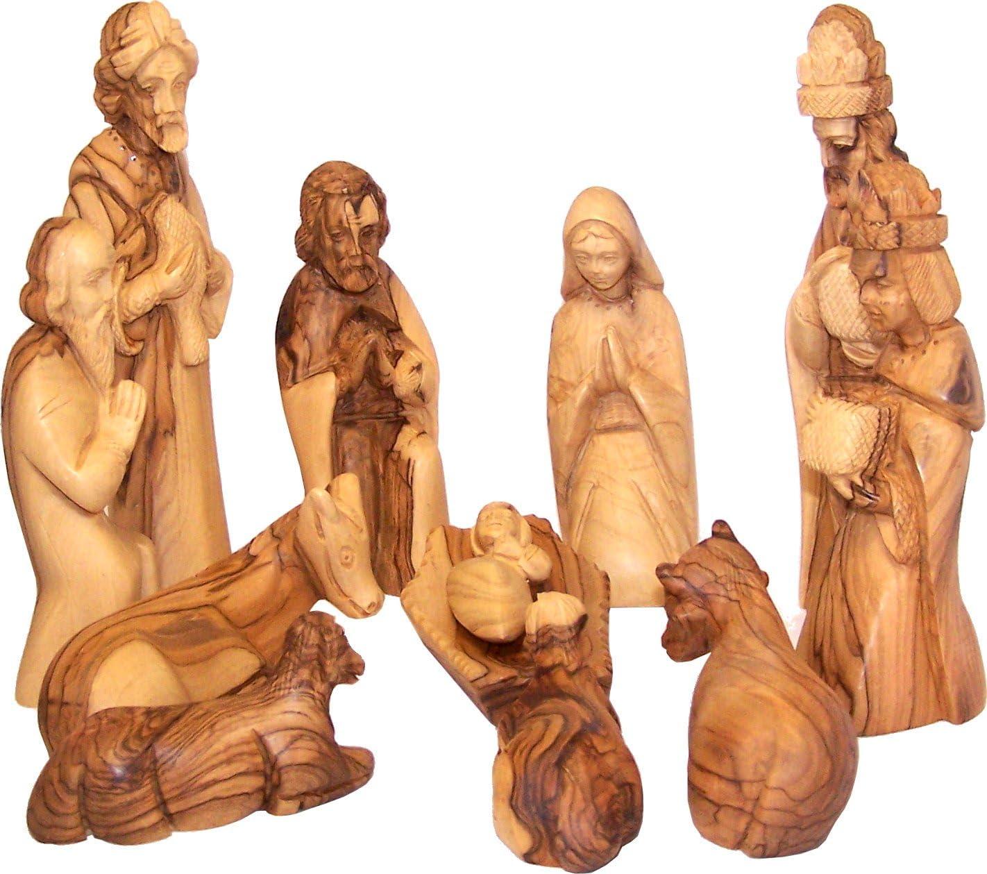 Holy Land Market Olivewood Nativity Set- Large 12 pcs – Large Size