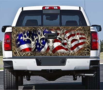 Truck tailgate wrap decal deer skull flag grass camo 3m cast 10 yr vinyl laminated