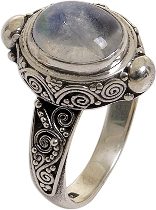 Details about  /Oxidized Finish 925 Sterling Silver Rainbow Moonstone Open Wedding FiligreeRing