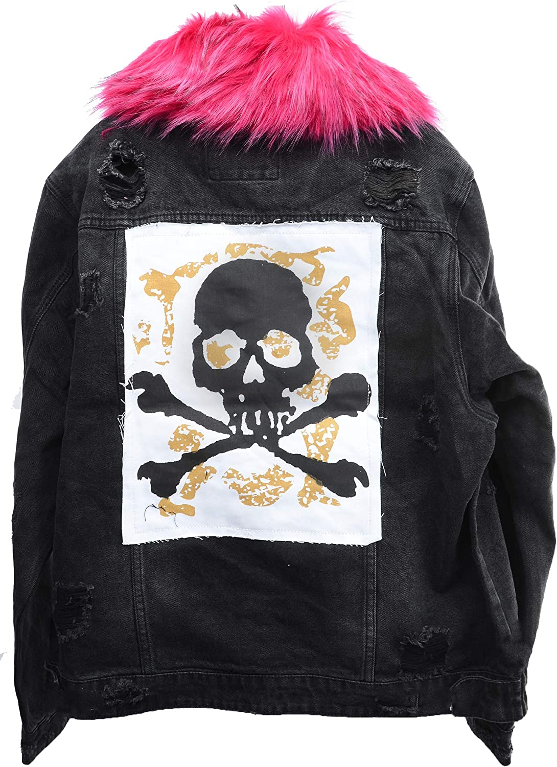 Plus Size Womens Destroyed Skull Patch Denim Jacket with Removable Fur 2X