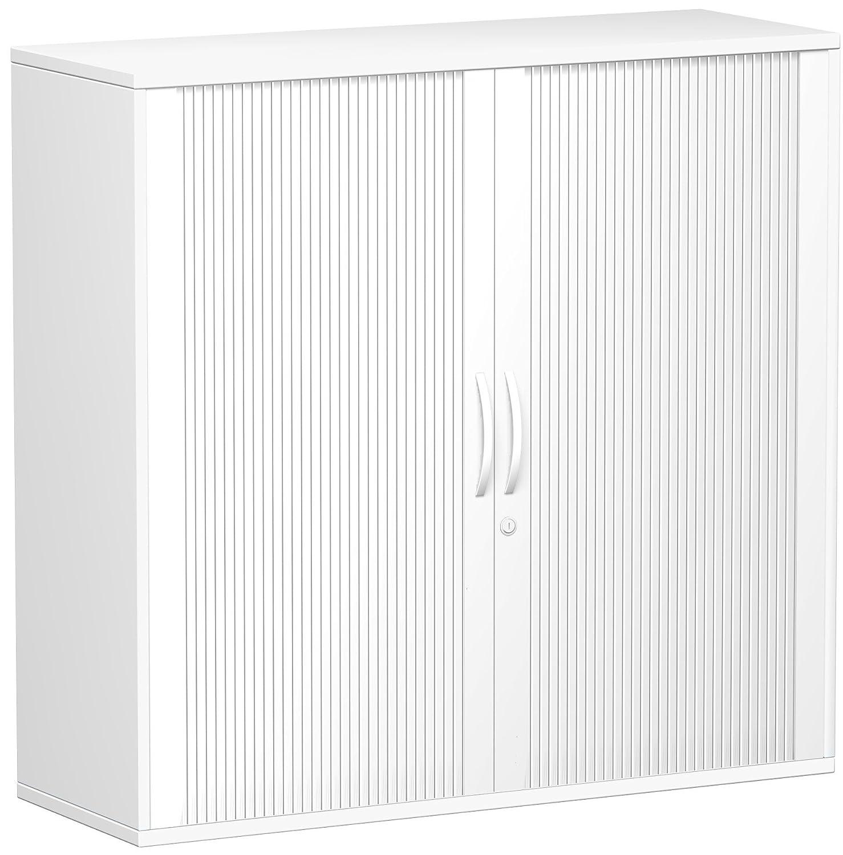 Geramöbel Querrollladenschrank Oberboden 25 mm, mit Standfüßen, abschließbar, 1200x425x1182, Silber/Weiß