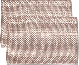 """Sweet Home Collection Trends Two Tone 100% Cotton Woven Placemat (6 Pack), 13"""" x 19"""", Taupe"""