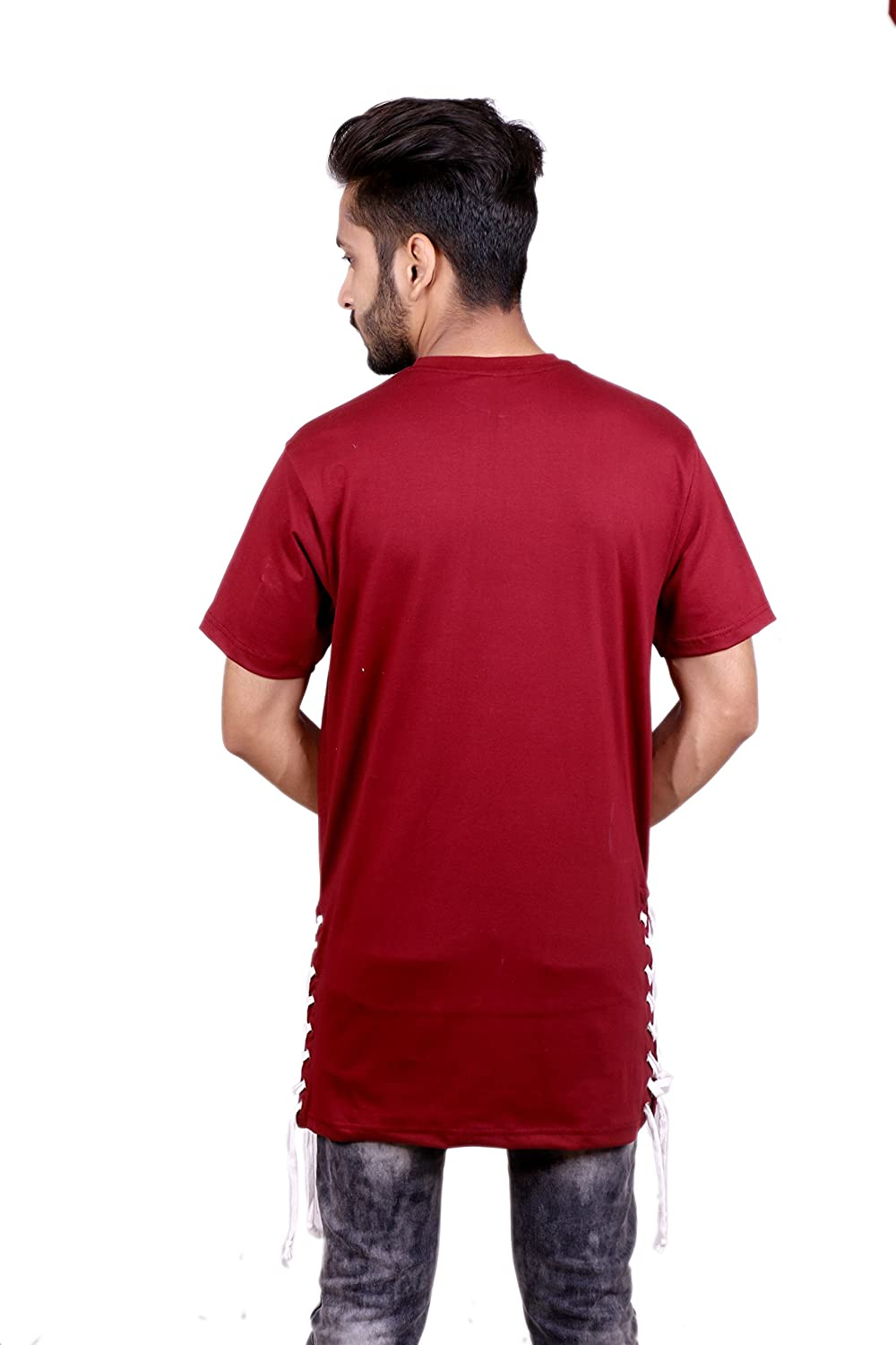 Swaggy Wears Eyelets Lace up Longline Premium Cotton Maroon T-Shirt