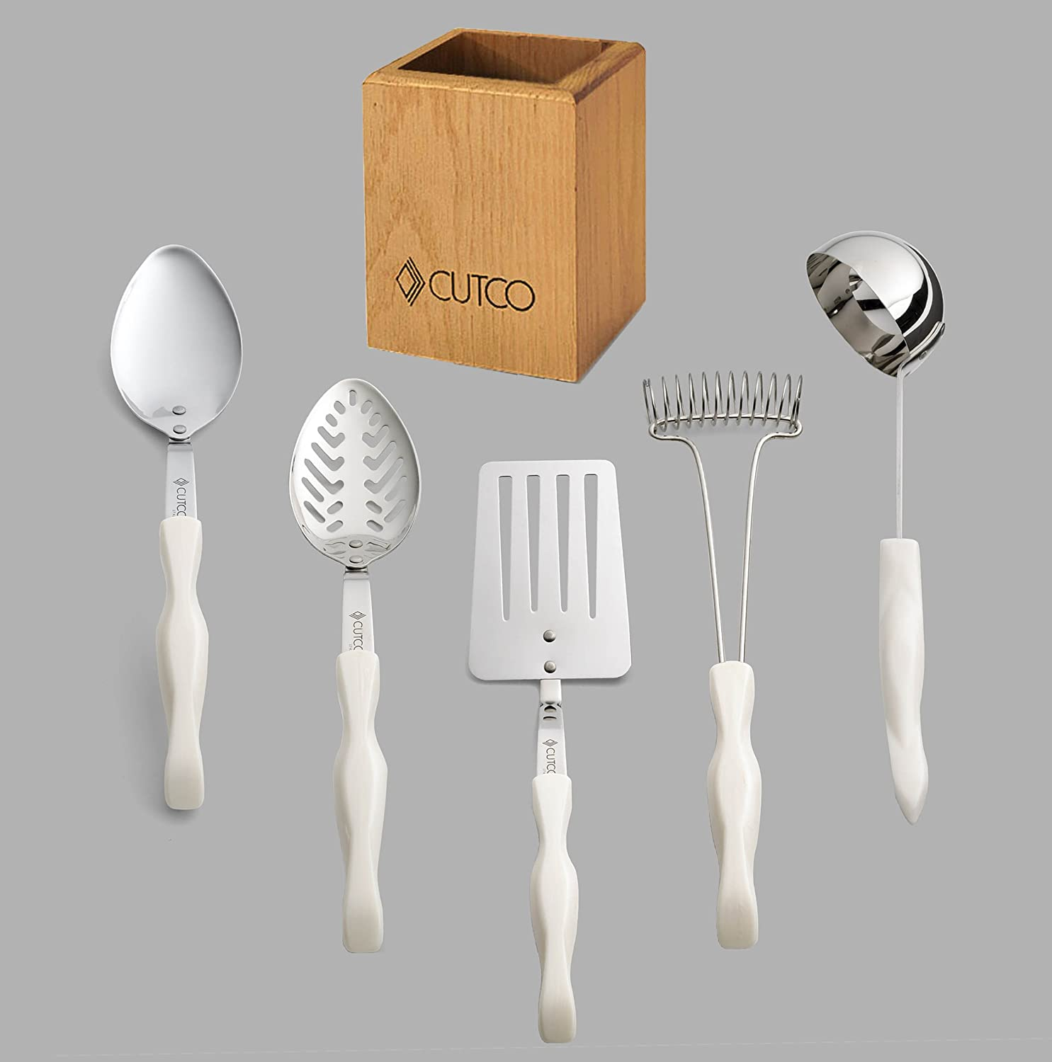 Cutco White Pearl Model 1718 5 Pc Kitchen Tool Set With Holder Includes 1716 Slotted Turner 1712 Basting Spoon 1713 Slotted Spoon 1715 Ladle 1714 Mix Stir And 1711 Oak Kitchen Tool Holder Amazon Com Grocery Gourmet Food